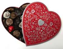 1lb. Red, Silver Embossed Heart Box